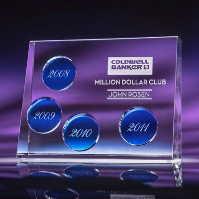 Progression Perpetual Optic Crystal Award with Clear Plaques