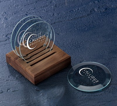 Beveled Optic Crystal Coasters with Caddy