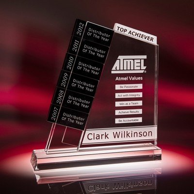Sequence Perpetual Optic Crystal Award with Black Plaques