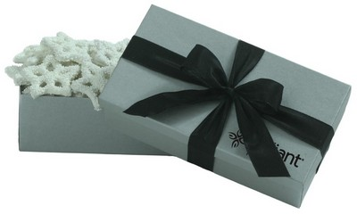 8 OZ White Chocolate Snowflake Pretzels - Silver Gift Box