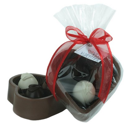 6 OZ Solid Milk Chocolate Heart Box with 3 Truffles