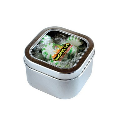 Striped Spear Mints in Large Square Window Tin