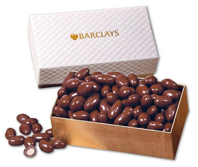 Chocolate Covered Almonds in White Pillow-Top Gift Box
