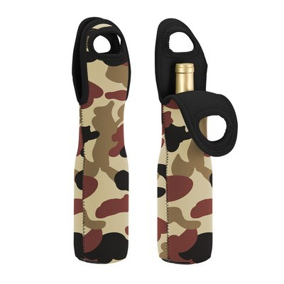 Single Compartment Neoprene Camo Wine Tote