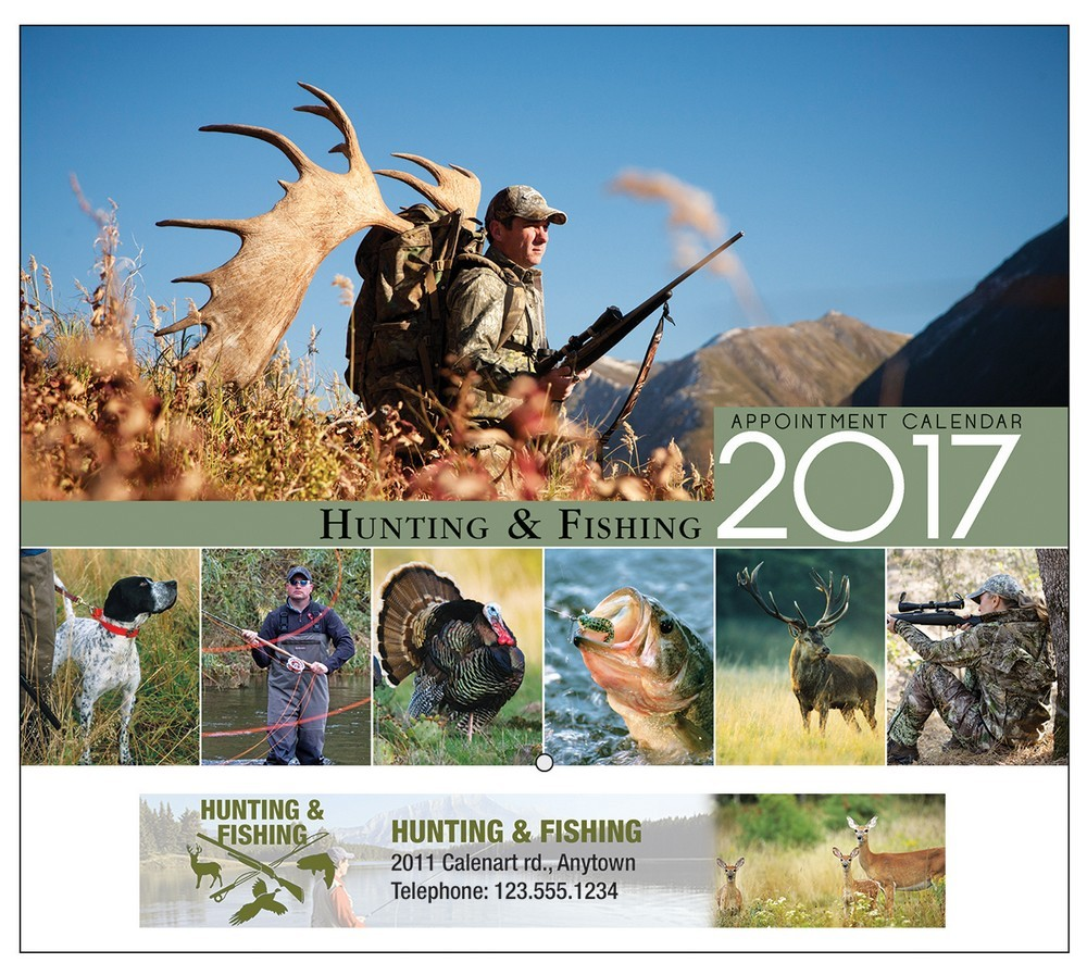 Hunting and fishing stapled appointment calendar for Hunt fish calendar