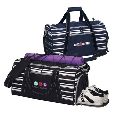 Striped Capri Duffel Bag with Shoe Pocket