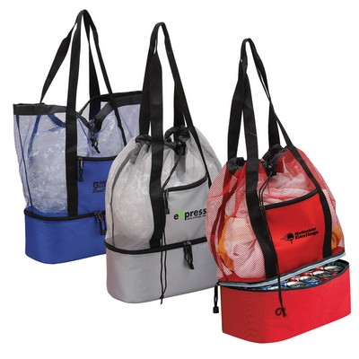 Drawstring Tote Cooler with Mesh Compartment