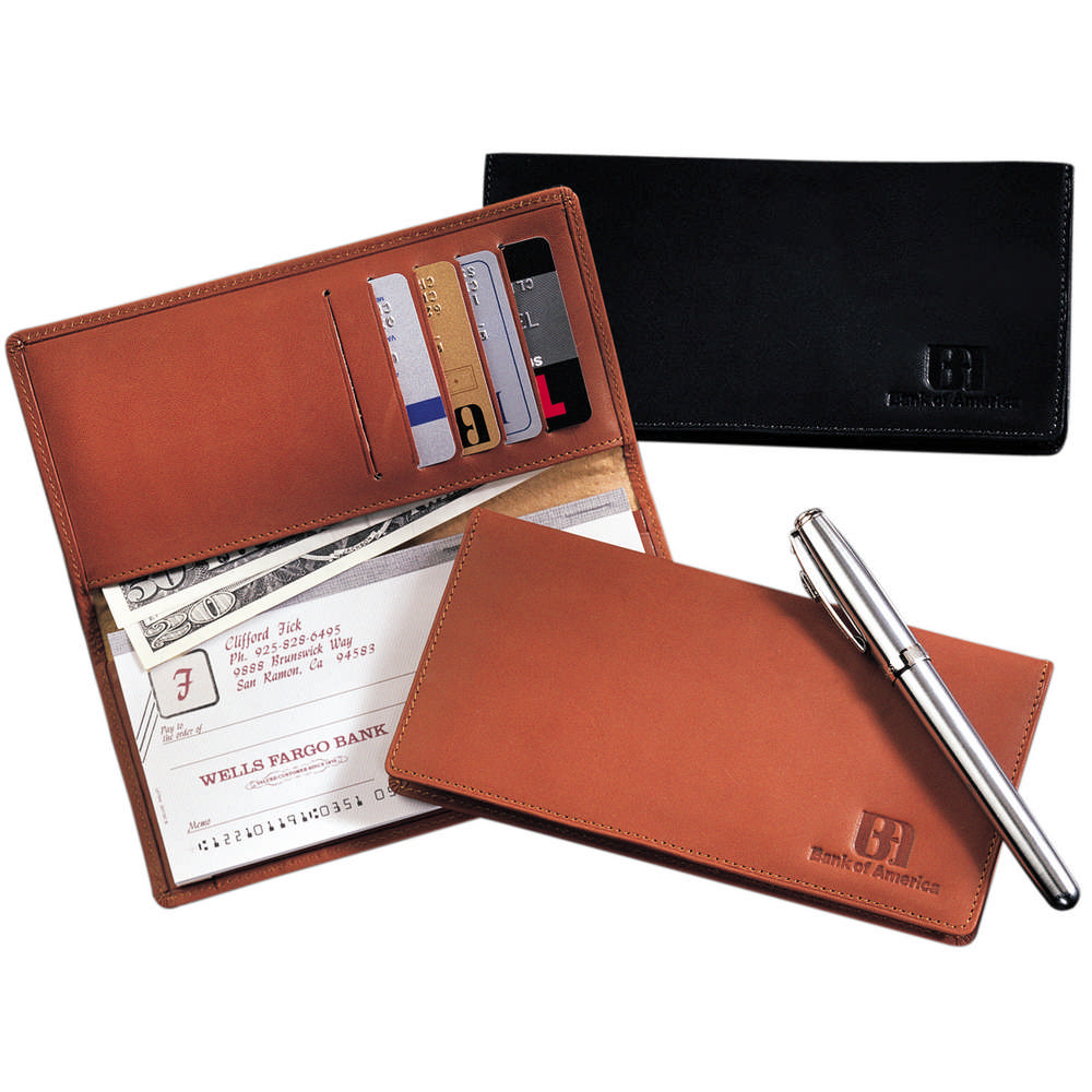 Business Cheque Book Covers : Walker street leather checkbook cover promotion pros