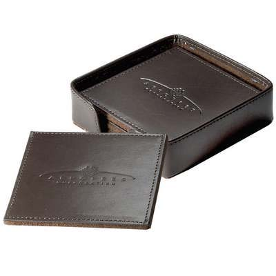 Times Square Leather Coaster Set