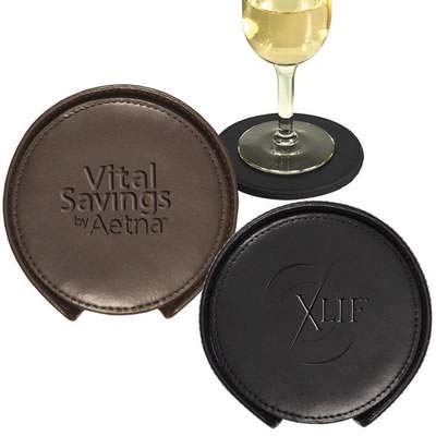 Lincoln Center Leather Coaster Set - Round