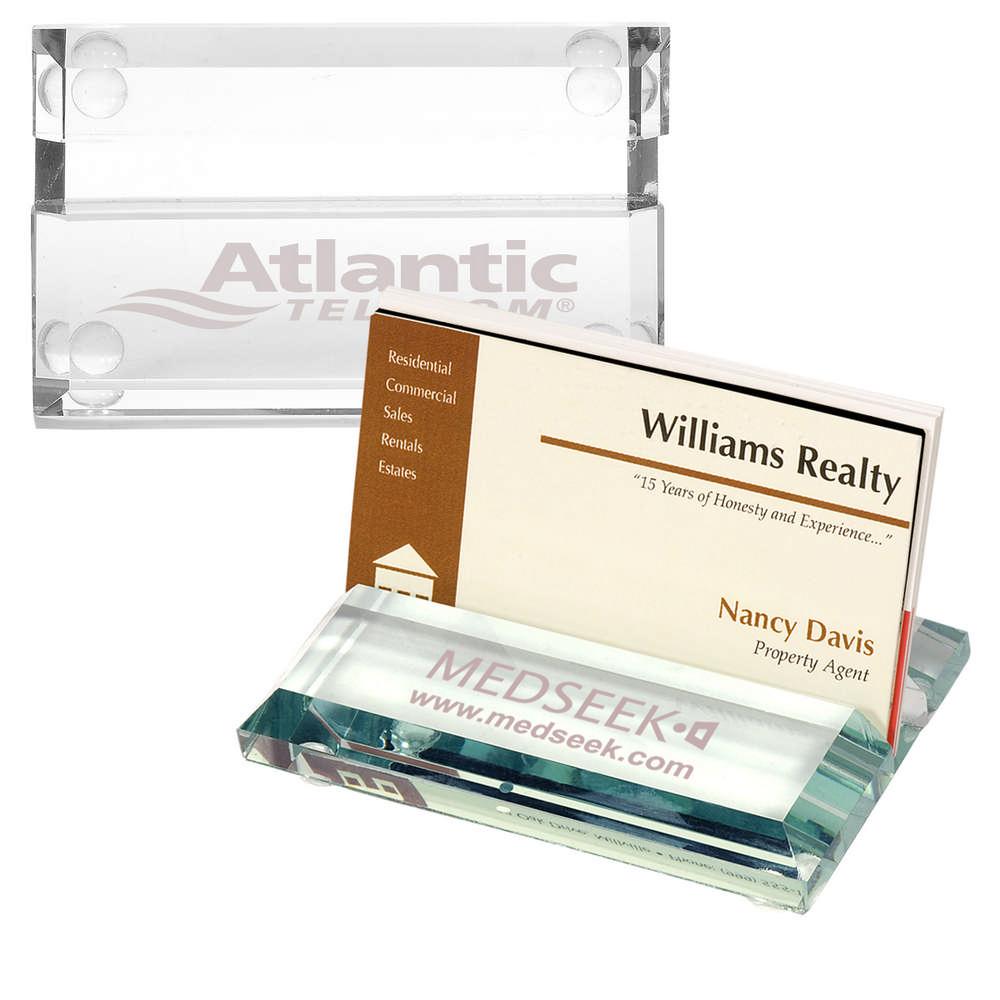 Atrium Glass Business Card Holder   Promotion Pros