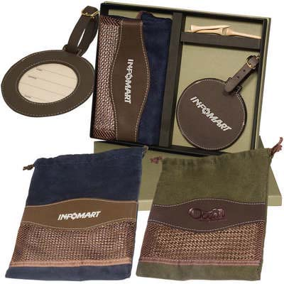Woodbury Golf Pouch and Round Golf Tag Set