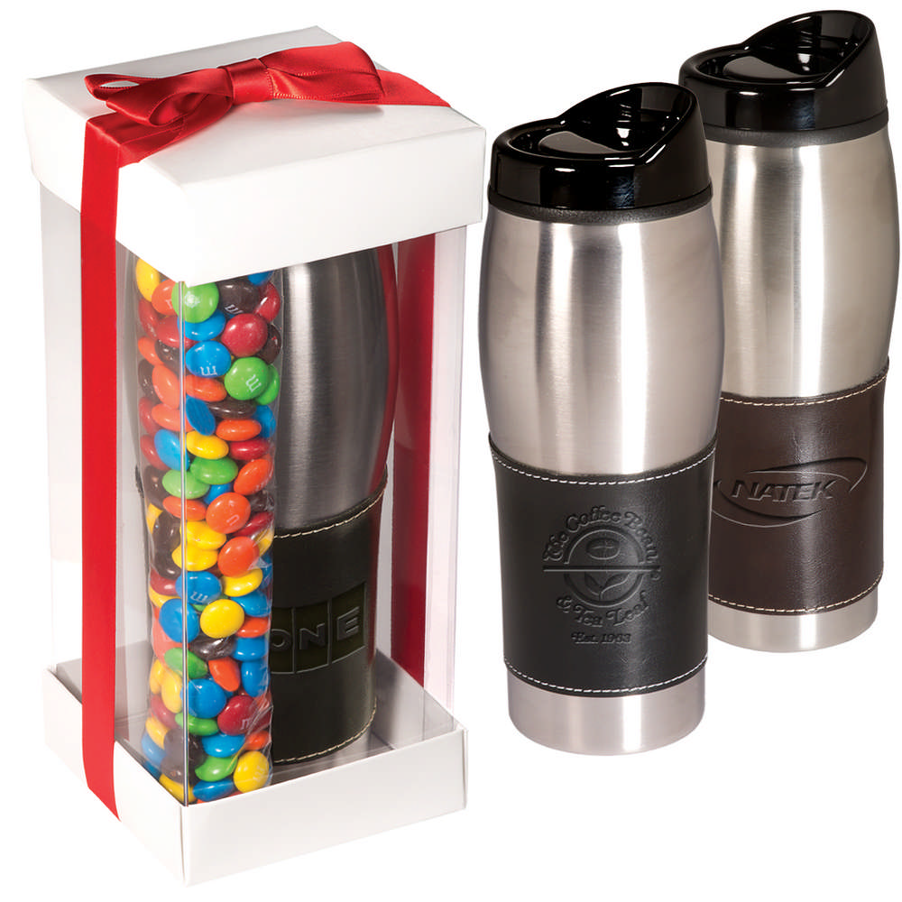 Leather wrapped tumbler with m amp m s set at promotion pros