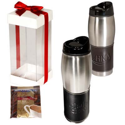 Empire Leather Wrapped Tumbler with Ghirardelli Hot Cocoa Gift Set