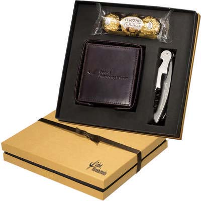 Ferrero Rocher Chocolates, Times Leather Coasters & Corkscrew Gift Set