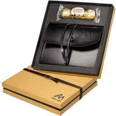 Ferrero Rocher Chocolates & Wrapped Leather Journal Gift Set