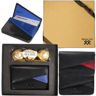Ferrero Rocher Chocolates & Fairview Leather Card Case Gift Set