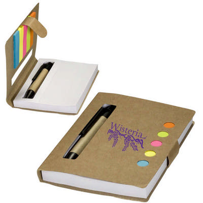 Eco Stowaway Jotter With Sticky Flags & Pen