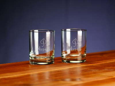 Custom Etched Selection Double Old Fashion Glass