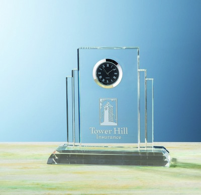 Custom Etched Optical Crystal Art Deco Fidelty Clock