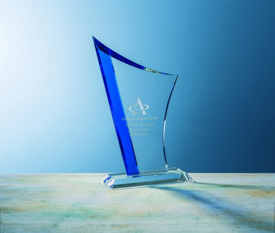 Custom Etched Small Sapphire Sweep Award