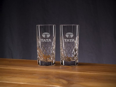 Custom Etched Crystal Director's Highball Glass