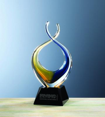 Custom Etched Zola Twist Gold/Blue Crystal Award