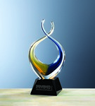Picture of Custom Etched Large Twist Gold/Blue Crystal Award