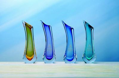 Custom Etched European Art Crystal Apollo Vase Award