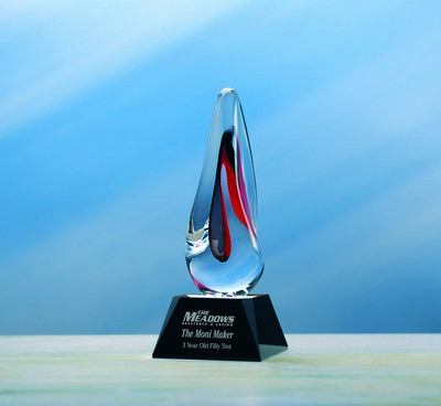Custom Etched Hand-Blown Small Red Molten Award