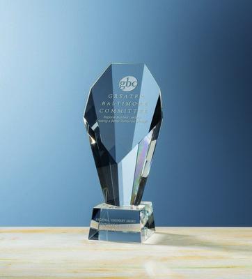 Custom Etched Medium Crystal FanFare Award