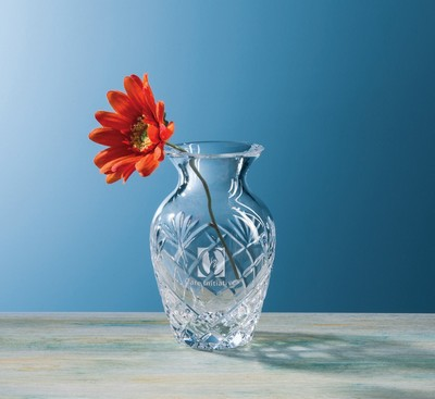 Customizable Camille Bud Etched Crystal Vase