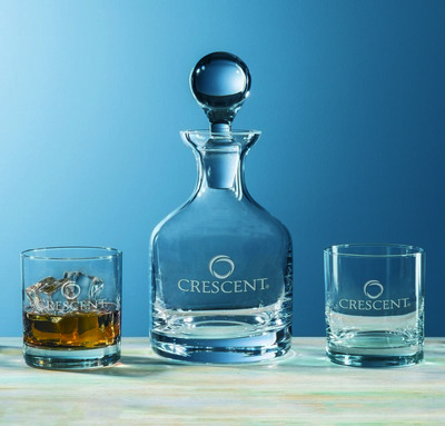 Custom Etched Crystal Glass & Decanter 3-Piece Set