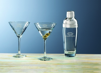 Custom Etched Crystal Selection 3-Piece Martini Set