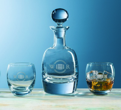 Custom Etched Glass & Barrel Decanter 5-Piece Set