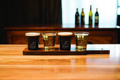 Custom Etched Beer Tasting Flight Glass & Board Set