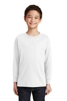 Gildan Youth White 100% Cotton Long Sleeve T-Shirt