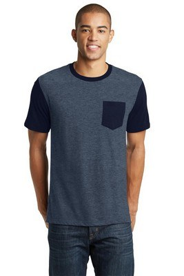 District Men's Short Sleeve Tee with Contrast Sleeves and Pocket
