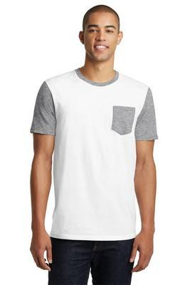 District Men's White Short Sleeve Tee with Contrast Sleeves and Pocket