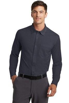 Port Authority Men's Long Sleeve Button-Up Dimension Knit Dress Shirt
