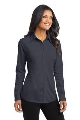 Port Authority Ladies Long Sleeve Button-Up Dimension Knit Dress Shirt