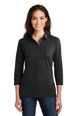 Port Authority Ladies ¾ - Sleeve Meridian Cotton Blend Polo
