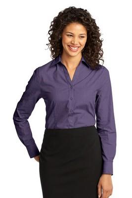 Port Authority Ladies Crosshatch Long Sleeve Shirt