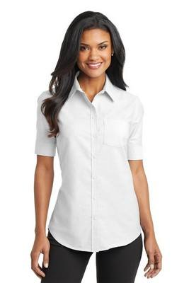 Port Authority Ladies Short Sleeve Button-Up SuperPro Oxford Shirt