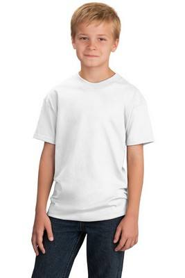 Port & Company Youth 54-oz 100% Cotton White T-Shirt