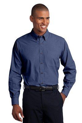 Port Authority Men's Long Sleeve Crosshatch Easy Care Button-Up Shirt