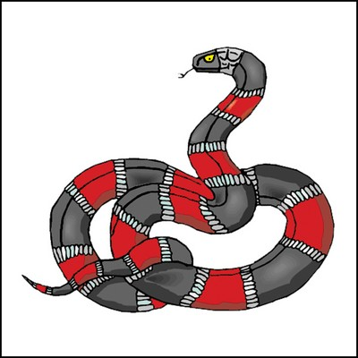 Red & Black Snake Stock Tattoo