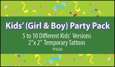 Kids' (Girl & Boy) Party Pack Stock Tattoo