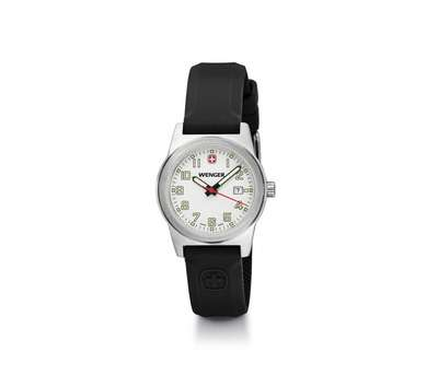 Wenger Field Classic White Dial Black Silicone Strap