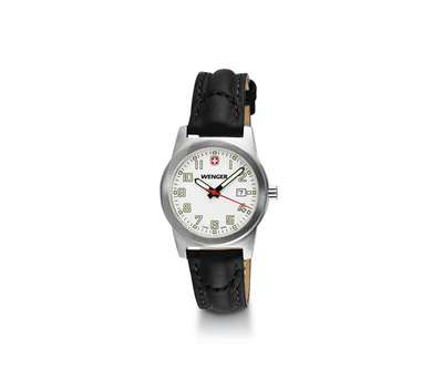 Wenger Field Classic White Dial Black Leather Strap